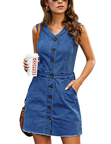luvamia Women's Casual V Neck Sleeveless Jeans Button Down Denim Short Dress Denim Blue Size Large