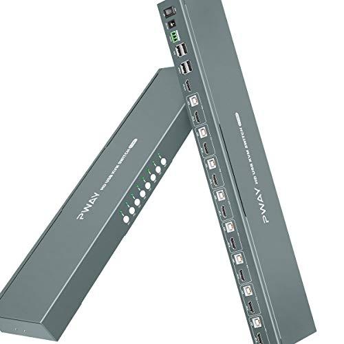 HDMI KVM Switch 8 Puertos, Conmutador KVM HDMI 8 Puertos 4K @30Hz, 2 USB 2.0, 8 In 1 Out, Conmutador de tecla de acceso rápido, RS232 compatible, Ultra HD, Mit 8 HDMI y 8 cables USB