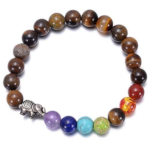 Isabell Giese Pulsera de piedras preciosas naturales con ojo de tigre de 8 mm – Elefante – Chakra pulsera – Mujeres hombres joyas regalo (contorno: 18 cm)