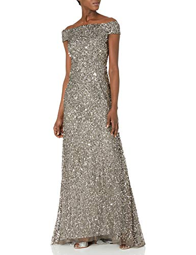 Adrianna Papell Women's Off The Shoulder Beaded Long Gown, Lead, 12