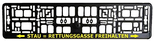 Schwarzer Kennzeichenhalter - Rettungsgasse Freihalten - Aufdruck in Gelb - Kennzeichenverstärker - Kennzeichenträger - Kennzeichen - Halter