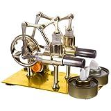 Batop Stirlingmotor Bausatz 2-Zylinder Hot Air Steam Externe Verbrennung Stirling