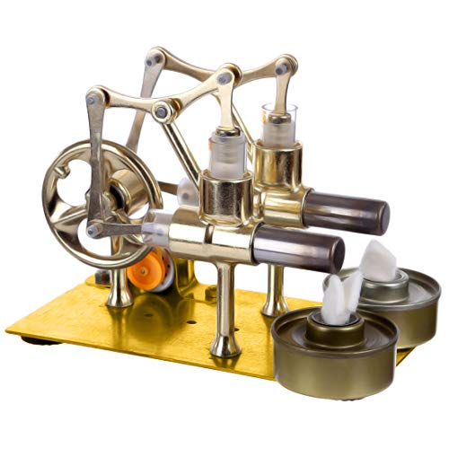 Batop Stirlingmotor Bausatz 2-Zylinder Hot Air Steam Externe Verbrennung Stirling Engine Kit Stirlingmotor Modell, Physik Unterricht Spielzeug