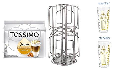 Tassimo Jacobs Krönung Caramel Macchiato + Tassimo Ständer 64 + 2 Latte Gläser