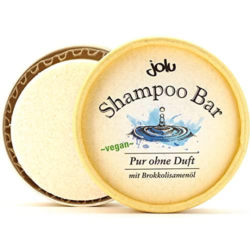 Jolu - Shampoo Bar pur ohne Duft - Festes Haarschampoo mit Brokkolisamenöl