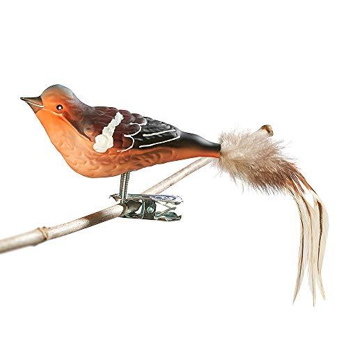 Thüringer Weihnacht 52-002 Glas-Vogel, Buchfink mit Naturfedern