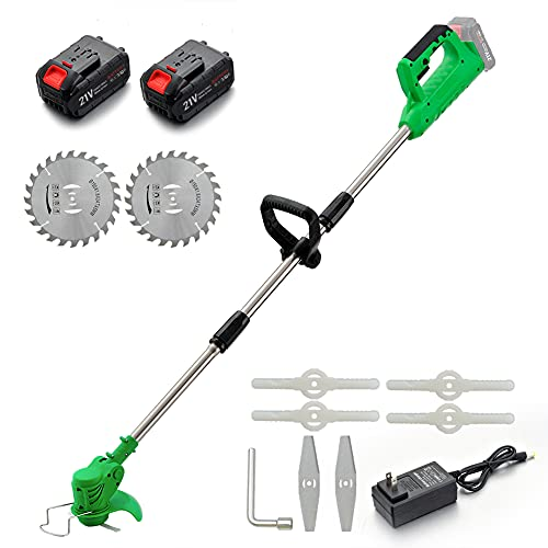 MAXMAN Cordless String Trimmer & Edger,Weed Eater with Blades,Weed Trimmers for Bush Cutting, Lawn Garden Pruning and Trimming,Weed Wacker with 2 Batteries and Charger 21V, Green