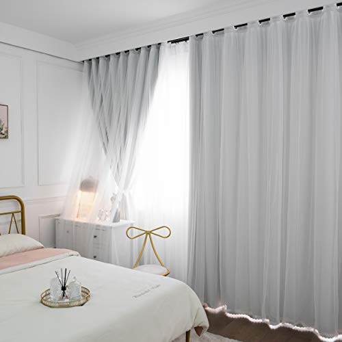 Jiuzhou rabbit Mix and Match Curtains set Thermal Insultaed Blackout Curtains 2 PCS with 2 Mesh Lace White Sheer Curtains for Living Room, Grommet Top Curtains Greyish 46 x 72 Inch