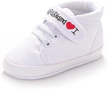 Calzado Auxma Infantil del bebé del niño de la Muchacha del Muchacho Sole Suave Zapatilla de Deporte para niños pequeños (0-6 Meses, Blanco)