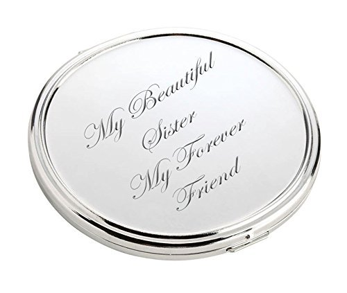Personalized Silver Compact Mirror Engraved Free