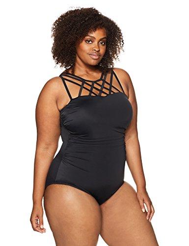 Coastal Blue Women's Plus Size Control Swimwear Top Strap Detail One Piece Swimsuit, Black, 1X (16W-18W)