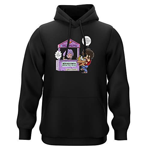 Okiwoki Sweat-Shirt à Capuche Noir Parodie Saint Seiya - Seiya du Pégase et Mû du bélier - Réparations Tous Métaux ! (Sweatshirt de qualité Premium de Taille L - imprimé en France)