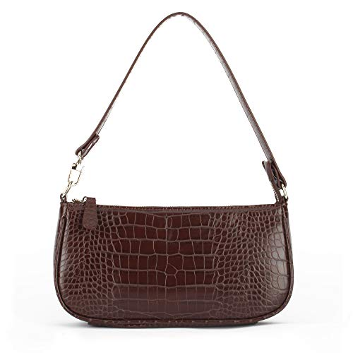 Retro Crocodile Effect Croc Embossed Faux Leather Baguette Bag for Women Shoulder Purse Handbag (Brown Croc)