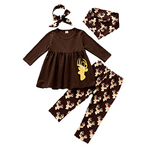 Baby Girl Christmas 4Pcs Outfits Reindeer Elf Xmas Outfits Newborn Infant Girl Ruffle Long Sleeve T-Shirt Long Dress Tops + Leggings Pants + Headband + Hat Christmas Princess Clothes Set Brown