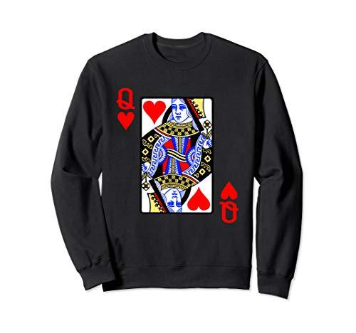 Spielkarte Herz Königin Queen der Herzen Karneval Kostüm Sweatshirt