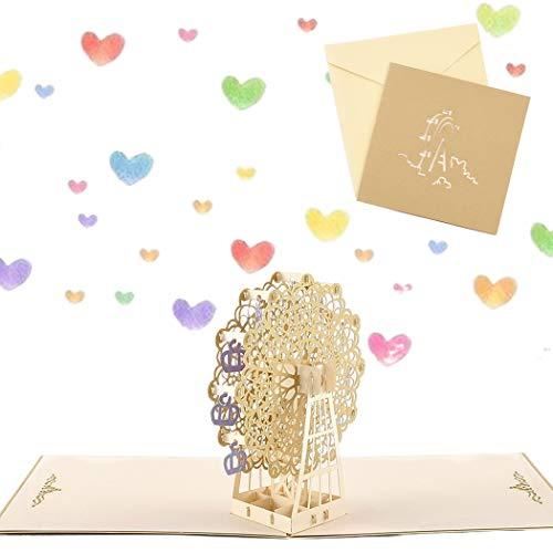 Sethexy 3D Tarjetas de felicitación con sobres Surgir Noria Tarjeta de Acción de Gracias Cumpleaños Graduación de aniversario Regalo de cumpleaños por la familia Mejor