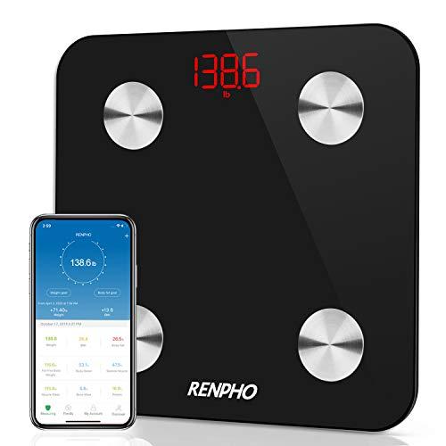 RENPHO Körperfettwaage, Bluetooth Körperanalysewaage mit App, Fitness Waage, Smart Personenwaage zur Analyse der Körperzusammensetzung, BMI, Muskelmasse, Wasser, Protein