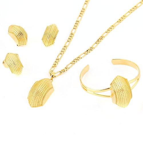 Brückenform, äthiopisch, vergoldet, Schmuck für Damen, Hochzeit, Party, eritreischer Schmuck-Set