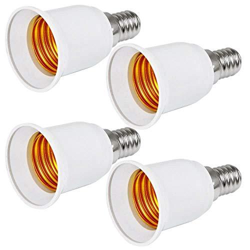 MENGS 4 Stück Lampensockel Adapter Konverter E14 Fassung auf E27 Lampensockel Lampenadapter für LED, Halogen und Energiesparlampen