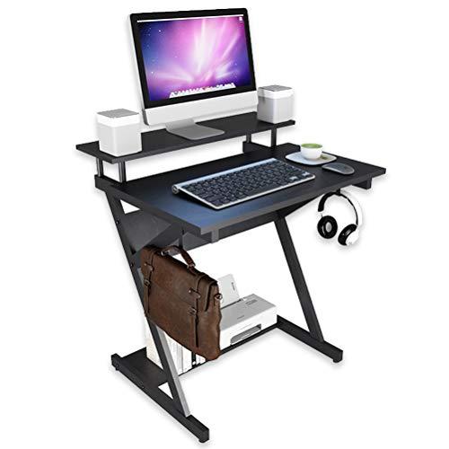 パソコンデスクラック付きデスク2x収納フック付きテレワーク用/在宅勤務PCデスクオフィスデスク高さ調節【OKUGEE】組立簡単幅70CMゲーミングデスク学習机木製学習デスク机省スペース収納(ブラック)