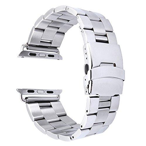 Armband Band voor Apple Watch 42mm roestvrij staal klassieke gesp horlogeband vervanging eenvoudig