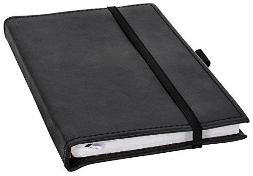 Buch Notizbuch Tagebuch mit Stiftehalter DIN A5 Schwarz Leder