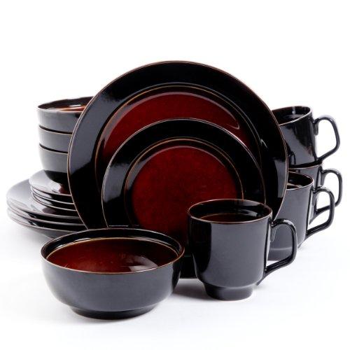 Gibson Elite Bella Galleria Round Reactive Glaze Stoneware Dinnerware Set, Service for 4 (16pcs), Red/Black