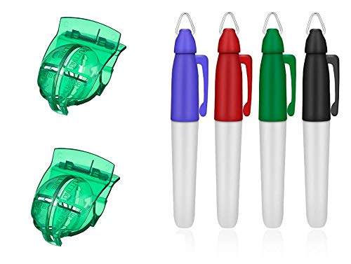 Golf Ball Marker Drawing Line Tool, 2pcs Marker Clips with 4pcs Marking Pens, for Alignment Putting Golf Ball and Drawing Marking (Black, Blue, Red, Green)