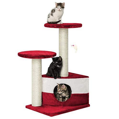 tiragraffi per gatti rosso Albero per Gatto con Graffiatoio Cuccia Giocattolo Gatti Parco Giochi Tiragraffi in Sisal Naturale 71 x 44 x 33 cm (Colore Rosso Fidel 30070)