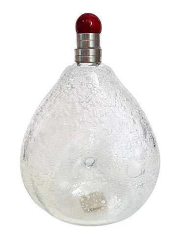 Oberstdorfer glazen karaf mondgeblazen met luchtbakken, fles antieke stijl helder glas met luchtinsluitingen en tin-sluiting, inhoud 0,5 liter, hoogte ca. 19-21 cm