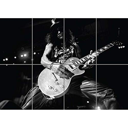 Doppelganger33 LTD Slash Guns and Roses Rock Music Black White Wand Kunst Multi Panel Poster drucken 47x33 Zoll