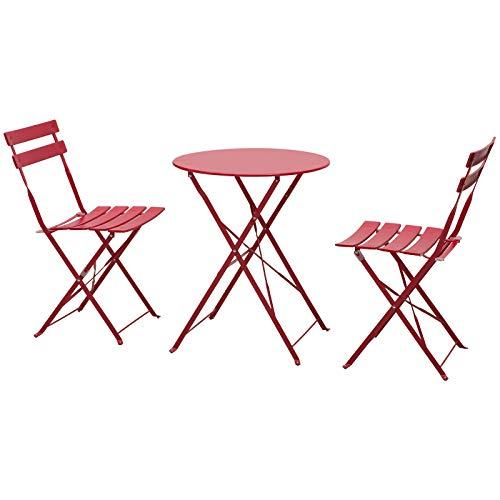 Outsunny Salon de Jardin Bistro Pliable - Table Ronde Ø 60 cm avec 2...