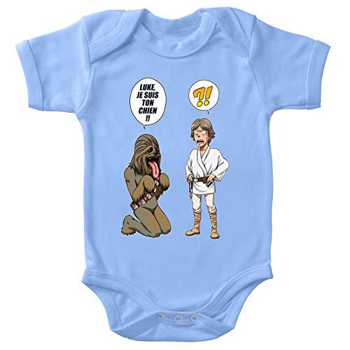 Star Wars Baby-Body, parodisch, Luke Skywalker und Chewbacca: Luke, Ich Bin Dein Hund (Triloge) (Parodie Star Wars) Gr. 62, blau