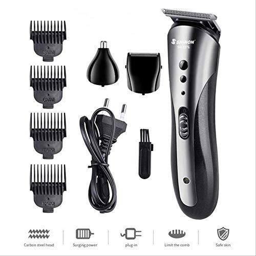 Tondeuse à cheveux professionnelle Tondeuse à cheveux électrique Barbe Tondeuse Brosse Rechargeable Hair Trimmer Cutter Kit Haircut Home Barber États-Unis Noir