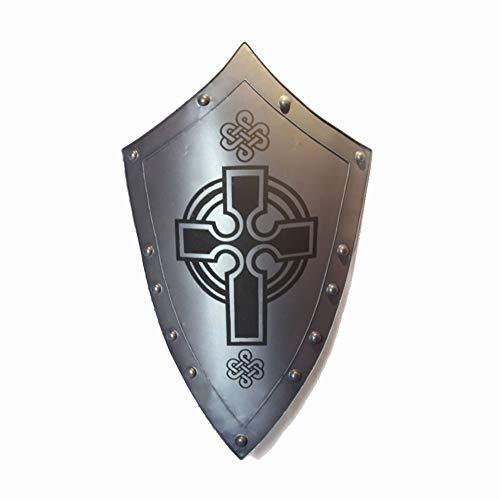 KCCCC Escudo Medieval Escultura Medieval Cruz Escudo decoracin de la Pared 56x92cm para Nios Disfraz de Caballero (Color : Silver, Tamao : 56x92cm)