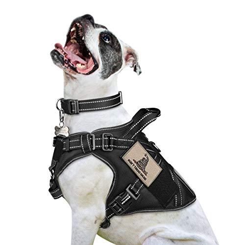 WINSEE Taktisches Hundegeschirr für mittelgroße Hunde, MOLLE-Weste mit Griff und Schlaufeneinsätzen, kein Ziehen, vorne Clip, verstellbar, reflektierend, für Wandern, Jagd