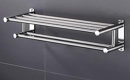 Toallero de acero inoxidable montado en la pared con ganchos, estante de almacenamiento de baño, barra de toalla múltiple, para baño, cocina de hotel-A-50cm