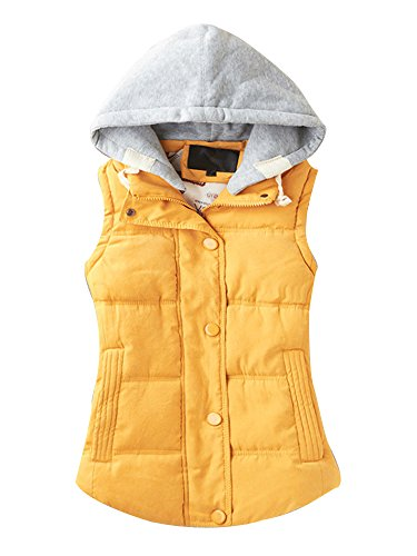 Gooket Women's Casual Winter Outerwear Waistcoat Quilted Padded Puffer Vest with Removable Hood Yellow Tag 3XL-US L