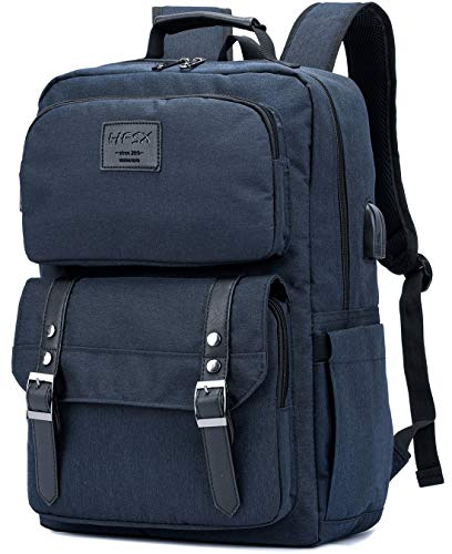 Laptop Backpack Women Men College Backpacks Bookbag Vintage Backpack Book Bag Water Resistant Back Pack Anti Theft Travel Backpacks with Charging Port fit 15.6 Inch Laptop Blue