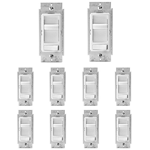 Leviton 6674-P0W SureSlide Universal 150-Watt LED and CFL/600-Watt Incandescent Dimmer, White, 10 Pack