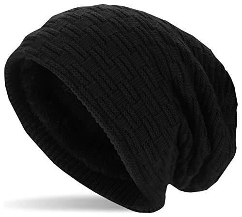 Hatstar Hatstar Warme gefütterte Feinstrick Beanie Mütze mit Flecht Muster und Sehr Weichem Fleece Innenfutter Wintermütze Damen Herren, 1 | Schwarz, UniSex
