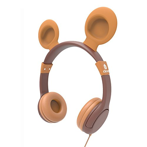 iClever BoostCare Wired Kids Headphones with Bear Ear Over Ear Headsets with 85 Volume Limited, Food Grade Silicon Material(HS11), Brown