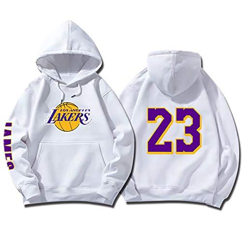 SHPP Los Angeles Lakers Lebron James # 23 Jersey de Baloncesto Retro Uniforme de Baloncesto Tops Unisex Sudadera con Capucha-White-M