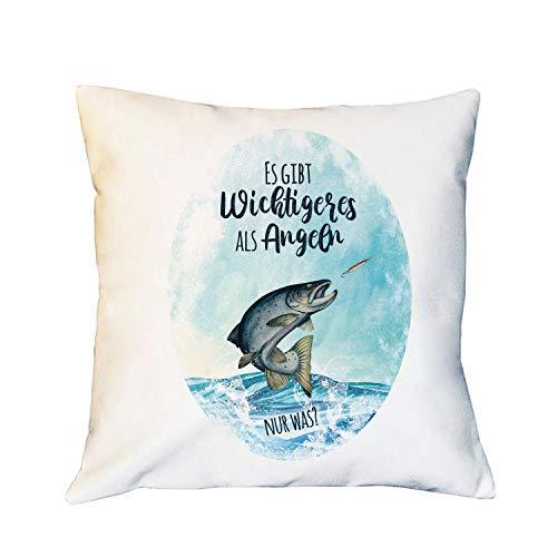 ilka parey wandtattoo-welt Kissen mit Meerforelle Lachsforelle Fisch Spruch Es gibt Wichtigeres als Angeln inkl Füllung Dekokissen Zierkissen ks292