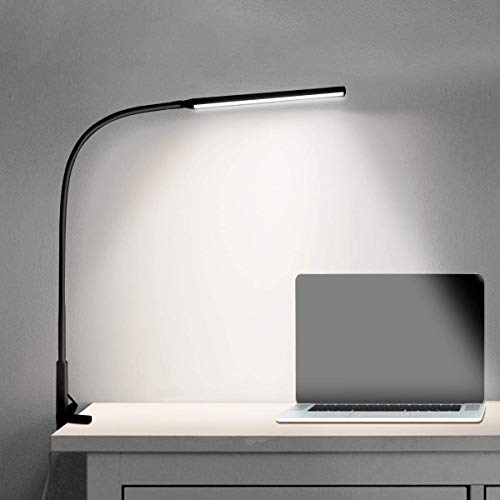 Led Schreibtischlampe Schwanenhals Klemmleuchte Augenschutz Schwenkarm Architektenlampe Einstellbare Dimmen & Farbtemperaturen, Büro Tischlampe mit Fernbedienung, 10W (Schwarz)
