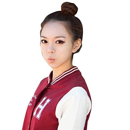 LUZIWEN Boulettes de viande tête cheveux machine réaliste mariée perruque sac accessoires for cheveux fleur cheveux curling épingle à cheveux (Color : Black brown curly hair bag 8CM)