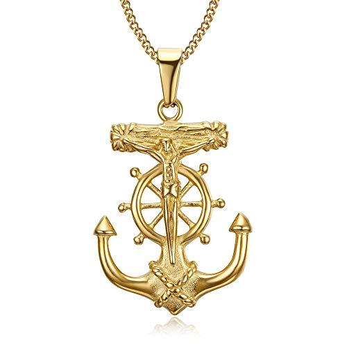BOBIJOO JEWELRY - Colgante, Collar De Ancla De La Marina De La Barra del Timón De Jesús De La Cruz De Cristo De Oro De Oro Chapado Viajero De Acero
