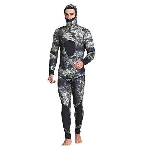 QWERDF Hombres De 5 Mm De Camuflaje Trajes De Pesca Submarina De 2 Piezas De Neopreno Buceo con Escafandra con Capucha Traje Trajes De Snorkel,A,L