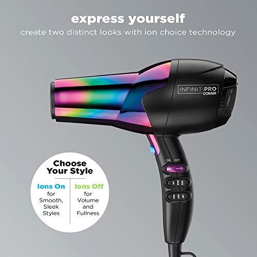 Conair INFINITIPRO 1875 Watt Ion Choice Hair Dryer, Rainbow Chrome Finish, Full Size