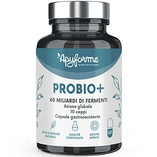 Fermenti Lattici - Probiotici Colon Irritabile - 60 miliardi di CFU / 2 Gel - 10 Ceppi - 100% FRANCESE - 60 Capsule Gastro-resistenti - Prodotto in Francia da Apyforme
